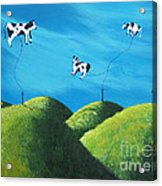 Even Cows Have Strange Dreams By Shawna Erback Art Acrylic Print by Shawna Erback