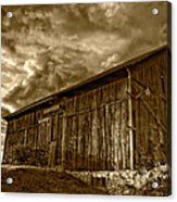 Evening Barn Sepia Acrylic Print