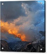 Evening Clouds And Half Dome At Yosemite Acrylic Print