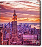 Evening In New York City Acrylic Print by Sabine Jacobs