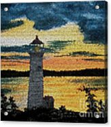 Evening Lighthouse In Stained Glass Acrylic Print