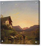 Evening Mood In Front Of A Wide Landscape With Horses Acrylic Print