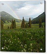 Evening Rainbow In The Rocky Mountains Acrylic Print