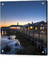 Evening Sky At The Dock Acrylic Print by Debra and Dave Vanderlaan