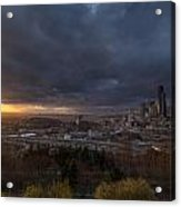 Evening Sunlit Seattle Skyline Acrylic Print