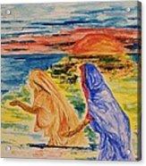 Evening Wash At The Kumbh Mela Acrylic Print by Paul Morgan