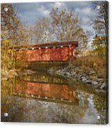 Everett Rd. Covered Bridge In Fall Acrylic Print