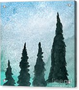 Evergreens On Green And Blue Landscape #1 Acrylic Print