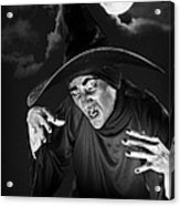 Evil Witch Under A Full Moon Acrylic Print