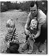 Ex Green Beret Barry Sadler In Target Practice With Son's Thor And Baron Tucson Arizona 1971 Acrylic Print
