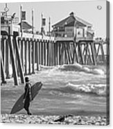Existential Surfing At Huntington Beach Acrylic Print