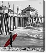 Existential Surfing At Huntington Beach Selective Color Acrylic Print