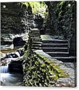 Exiting Watkins Glen Gorge Acrylic Print by Frozen in Time Fine Art Photography