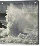 Explosive Wave At Mavericks Point Acrylic Print