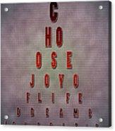 Eyechart Inspiring Typography Art Acrylic Print