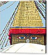 Eyes Of Buudha Boudhanath Stupa In Kathmandu-nepal  Acrylic Print