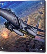 F-15e Strike Eagle Scud Busting Acrylic Print by Stu Shepherd