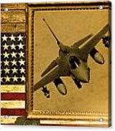 F-16 Fighting Falcon Rustic Flag Acrylic Print