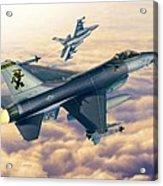 F-16c Sunset Falcons Acrylic Print by Stu Shepherd
