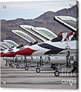 F-16c Thunderbirds On The Ramp Acrylic Print by Terry Moore