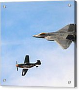 F-22 And P-51 Heritage Flight Acrylic Print by Saya Studios