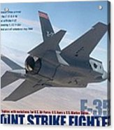 Lockheed Martin F-35 Joint Strike Fighter Lightening II With Text Acrylic Print