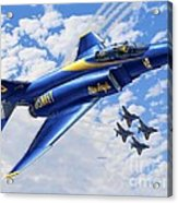 F-4 Phantoms In Blue Acrylic Print