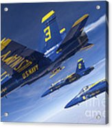 Fa-18 Hornets Of The Blue Angels Fly Acrylic Print