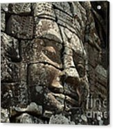 Face At Banyon Ankor Wat Cambodia Acrylic Print by Bob Christopher