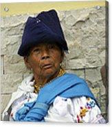 Face Of Ecuador Woman At Cotacachi Acrylic Print