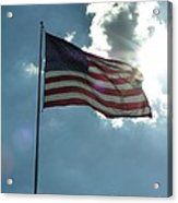 Face Of Jesus In Cloud W Flag 9 11 Remembered  Acrylic Print