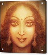 Face Of The Goddess/ Durga Face Acrylic Print by Ananda Vdovic