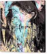 Faceless Girl With Her Crow Acrylic Print