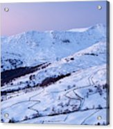 Fairfield Covered In Snow At Sunset Acrylic Print