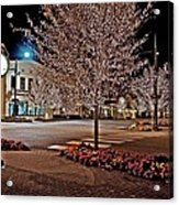Fairhope Ave With Clock Night Image Acrylic Print
