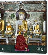 faithful Buddhist monk praying at Buddha Statues in SHWEDAGON PAGODA Acrylic Print