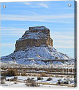 Fajada Butte In Snow Acrylic Print