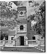 Fajardo Church And Plaza B W 3 Acrylic Print