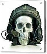 Fake Skull Wearing A Military Pilot Helmet Acrylic Print
