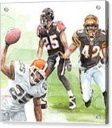 Falcons Bengals Football Watercolor Portrait Acrylic Print