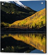 Fall Colors And Red Mountain Reflected Acrylic Print