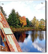 Fall Landscape Old Bridge Maine Acrylic Print