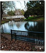 Fall Leaves Carpet And Metal Sofa Acrylic Print