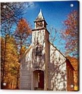 Fall Morning At Palmer Chapel In Cataloochee Acrylic Print
