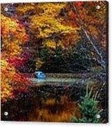 Fall Pond And Boat Acrylic Print by Tom Mc Nemar