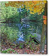 Fall Scene By Pond Acrylic Print