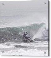 Falling Surfer In Falling Snow Acrylic Print
