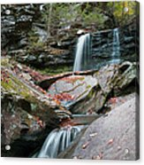 Falling Water Meets Fallen Leaves Acrylic Print