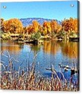 Fall's Reflection On The Rio Grande Acrylic Print