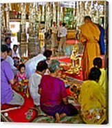 Families Awaiting Teaching From A Monk At Wat Tha Sung Temple In Uthaithani-thailand Acrylic Print